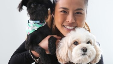Vet  Dr Cherlene Lee and her dogs, (black dog) Obi-Wan-Kenobi and Siao Chuwho has twice needed treatment after eating chocolate.