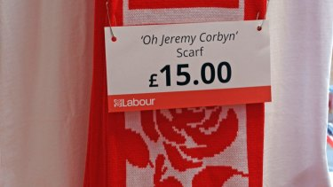 An 'Oh Jeremy Corbyn' scarf on sale at the 2017 Labour Party conference in Brighton.