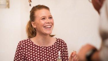 Anna McGahan enjoys the carbonara at Umberto Espresso in Thornbury.