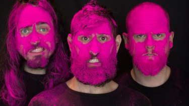 The men from Aunty Donna. From left, Zachary Ruane, Mark Samual Bonanno and Broden Kelly.