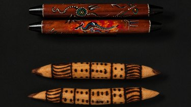 The top pair of clapsticks is made in indonesia; the authentic bottom pair is from Maruku Arts, NT; maruku.com.au.