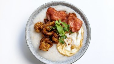 Boon Cafe's bacon and egg congee.