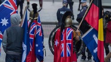 Reclaim Australia supporters in costume.