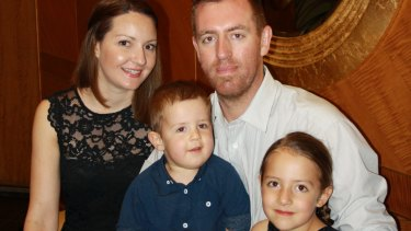 Jasmine and Aaron Boothey of Adelaide and their children, daughter Blair (5) and son Hamish (2).