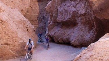 There's little margin for error while mountain-biking through Devil's Throat gorge in Chile's Atacama Desert.