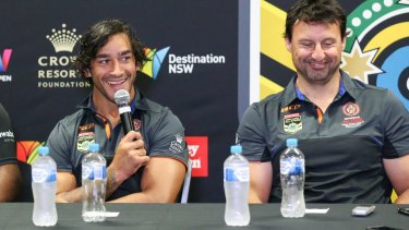 Ambitious: Johnathan Thurston addresses the media alongside coach Laurie Daley at Newcastle's McDonald Jones Stadium.