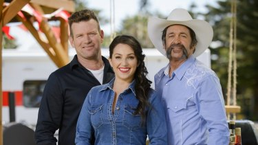 Ben O'Donoghue, Jess Pryles and Robert Murphy on <i>Aussie Barbecue Heroes</i>.
