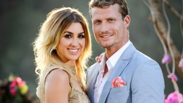 Alex Nation and Richie Strahan after Nation was named the winner of <i>The Bachelor.</i>