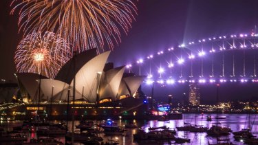 The 9pm New Year's Eve fireworks on Sydney Harbour, viewed from Mrs Macquarie's Chair.