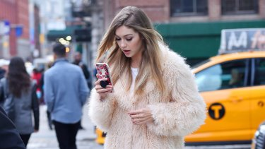 Gigi Hadid on the set of a photoshoot in New York.