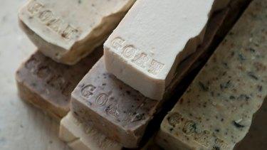 Handmade goat's milk soap strips, $28 each.