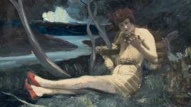 A portrait of Rosetta next to an idyllic river, a piece thought to have been created by her husband Zeno in the early 1930s.