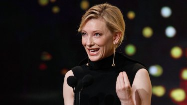 Cate Blanchett receives the Longford Lyell Award during the 5th AACTA Awards in Sydney. Blanchett has been nominated for a Golden Globe for best actress in a drama  for lesbian romance Carol.