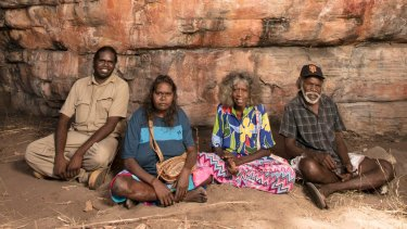 Traditional owners Simon Mudjandi, Rosie Mudjandi, May Nango and Mark Djanjomerr at the Kakadu rock shelter where Australian history has been re-written.