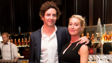 Vincent Fantauzzo and a pregnant Asher Keddie at the GQ Men of the Year Awards in 2014.
