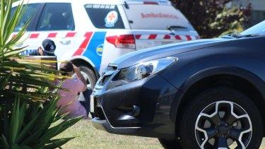 Police at the scene in Acacia Drive.