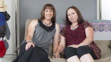 Turn and face the change: Keri Bristow and her spouse Christine during Keri's transition into womanhood.