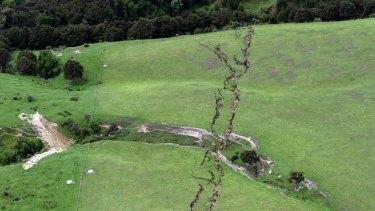 Cracks show on a farm following a powerful earthquake around near Kaikoura, New Zealand in November.