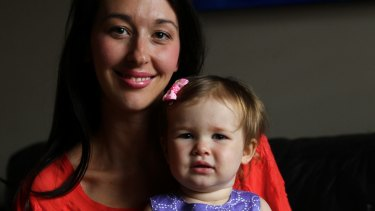 Krystal Barter and her 18 month old daughter Bonnie.