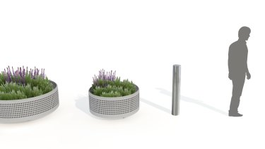 An artist's impression of the permanent metal bollard and planter boxes.