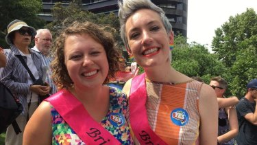 Kirsty Albion and Kelly McKenzie, who plan to marry early next year, at the marriage equality plebiscite announcement.