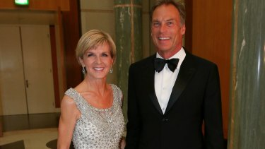 Foreign Minister Julie Bishop and David Panton at the Midwinter Ball at Parliament House in June.