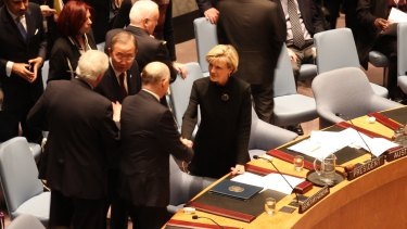 Julie Bishop with other leaders at the UN Security Council.