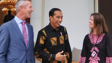 Jewel Topsfield interviewed Indonesian President Joko Widodo, centre, with Fairfax Media's Peter Hartcher, left.