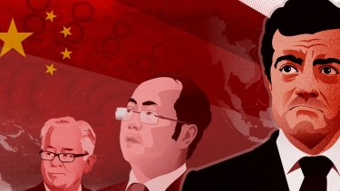 Andrew Robb, Huang Xiangmo and Sam Dastyari. Illustration: Fairfax