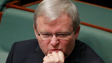 Kevin Rudd on the backbench after losing a leadership ballot.