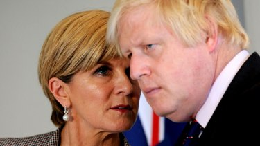 British Foreign Secretary Boris Johnson and Australian Foreign Minister Julie Bishop speak during the annual UK-Australia Foreign & Defence ministerial talks in London