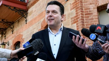 Crossbench senator Nick Xenophon speaks to media at the British Hotel in North Adelaide after finding out he's a British citizen.