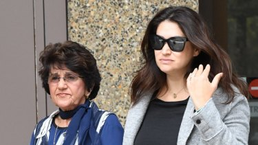 Eddie Obeid's wife Judith Obeid, left, leaves the Supreme Court with a daughter-in-law on Monday.