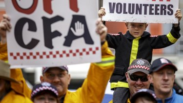 Protesters at a rally of CFA volunteers and supporters.