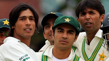 Former Pakistan cricketers Salman Butt (centre), Mohammad Asif (right) and Mohammad Amir (left) were jailed for spot-fixing
