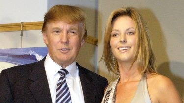 Donald Trump and Jennifer Hawkins following her Miss Universe win in New York in 2004.