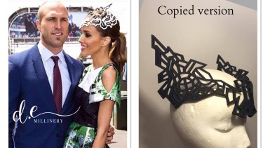 In the left-hand image, Bec Judd wears a DE Millinery design, by Danica Erard. Erard claims the right-hand image is a copy.