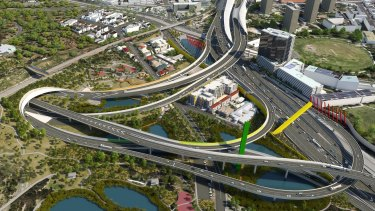 An artists' impression of the East West Link's western gateway.
