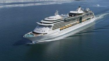 A Royal Caribbean mega liner capable of bringing 2400 visitors to a destination.