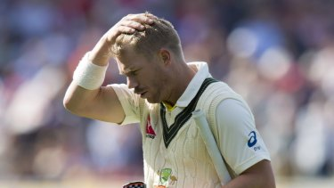 Opener David Warner stroked the equal fastest fifty for an Australian in Ashes history, from 35 balls, before departing for 77, caught by Adam Lyth off the bowling of James Anderson.