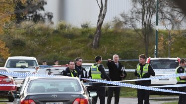 Police at the scene of a double shooting in Orion Way, Roxburgh Park, on Friday.