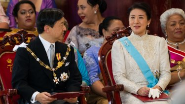 Crown Prince Naruhito and Crown Princess Masako at the coronation of King Tupou VI of Tonga in July 2015.