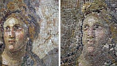 Botched: A mosaic before restoration (left) and after restoration.