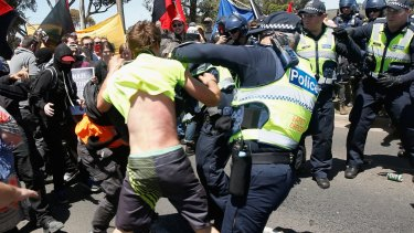 Protesters from Reclaim Australia and the No Room for Racism group clash  during a rally held in Melton in November last year.