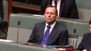 Former prime minister Tony Abbott in Parliament on Tuesday during the debate on gun laws.