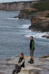 Towering beauty: Ian Wells and wife Tara on the Coast Track in the Royal National Park, near Bundeena.