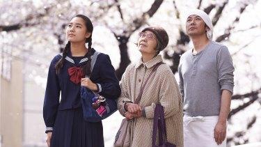 Kirin Kiki, Masatoshi Nagase and Kyara Uchida in the gentle Japanese melodrama <i>An</i>.