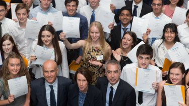 HSC students who topped a subject this year with Education Minister Adrian Piccoli.