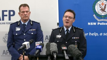 AFP Deputy Commissioner Michael Phelan, right, and NSW Police Deputy Commissioner David Hudson, outline the alleged terror plots.