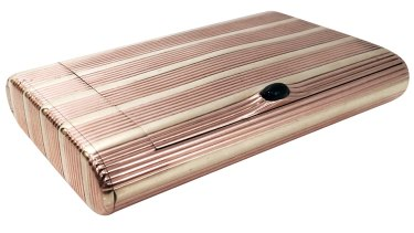 A two-tone gold cigarette case with a secret compartment by August Hollming Fabergé.